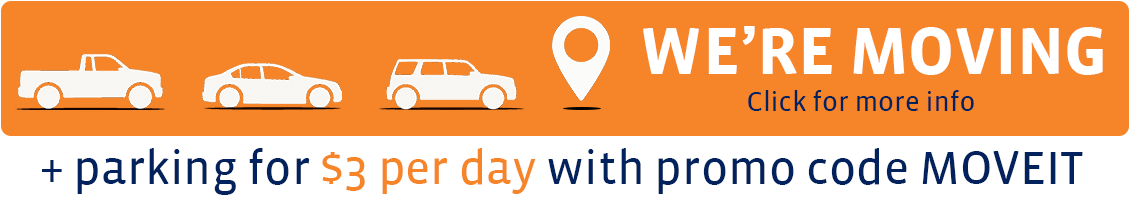 We're moving. $3 per day parking with promo code MOVEIT